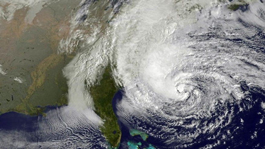 Oct. 28, 2012: This NOAA satellite image shows Hurricane Sandy off the Mid Atlantic coastline moving toward the north with maximum sustained winds of 75 mph. Tens of thousands of people were ordered to evacuate coastal areas ahead of the onslaught.