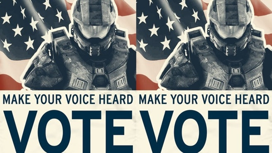 "A ""get out the vote"" poster for Halo 4 urges gamers to ""Make Your Voice Heard: Vote."" But some analysts worry that avid gamers will skip the polls for their consoles."