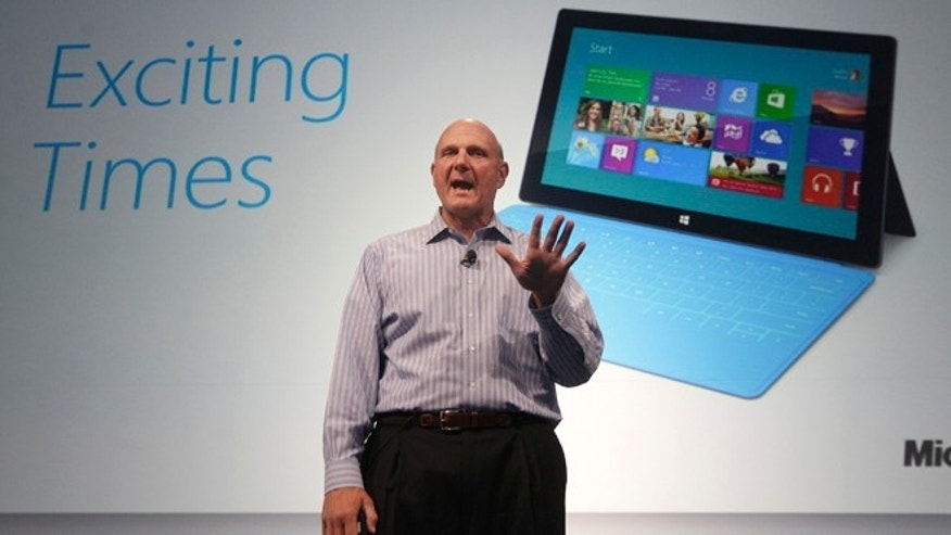 July 16, 2012: Microsoft CEO Steve Ballmer speaks at a Microsoft event in San Francisco. Microsoft unveiled a new version of its widely used, lucrative suite of word processing, spreadsheet and email programs Monday, one designed specifically with tablet computers and Internet-based storage in mind. A version for Android and iOS products will be released in 2013.
