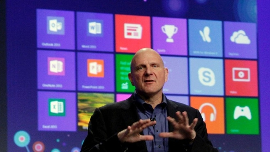 Oct. 25, 2012: Microsoft CEO Steve Ballmer gives his presentation at the launch of Microsoft Windows 8.