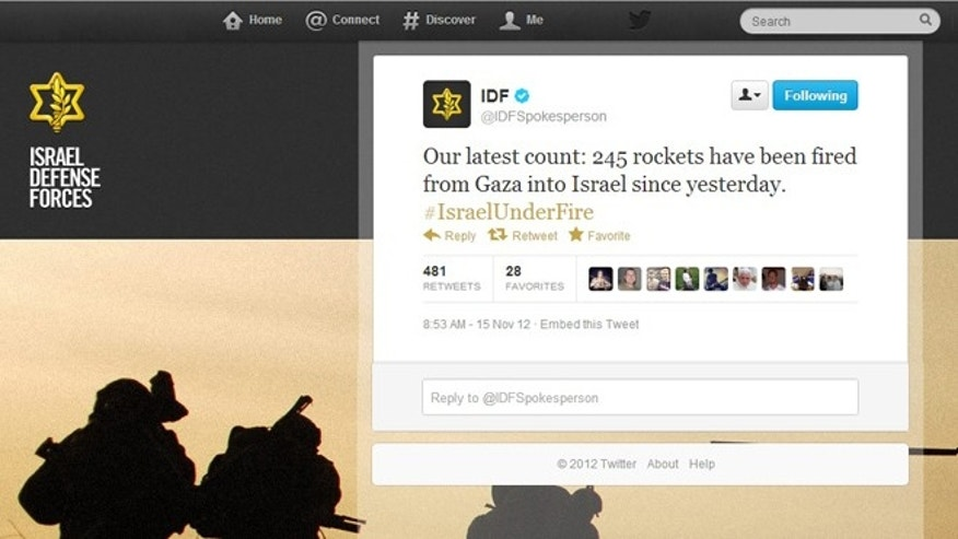 Nov. 15, 2012: As rockets fly in a new outbreak of deadly violence between Gaza militants and Israel, the latest battlefront is Twitter and social media.