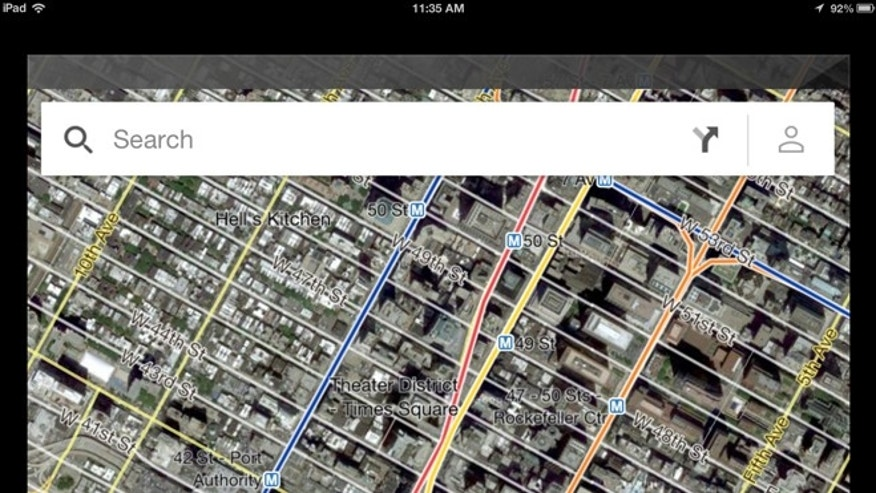 Dec. 13, 2012: The world's most popular online mapping system returned late Wednesday with the release of the Google Maps iPhone app, shown here on an iPad.
