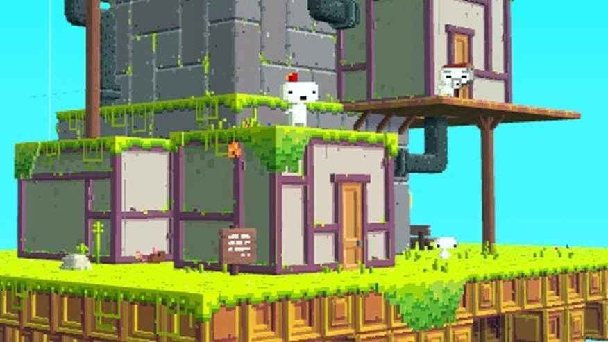 A scene from Fez, in which a 2D character named Gomez must repair a 3D world that is coming apart at the seams.