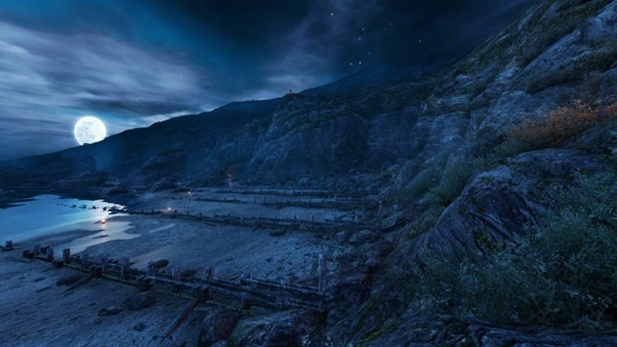 "A haunting night scene from the game ""Dear Esther,"" in which players begin alone on a deserted island where they gradually discover their own back story."