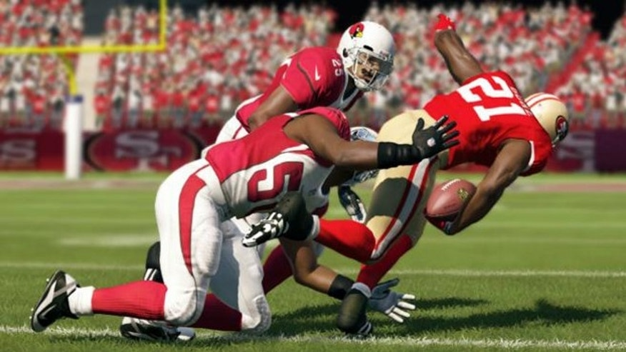 Frank Gore of the San Francisco 49ers breaks away in the game Madden NFL 13.