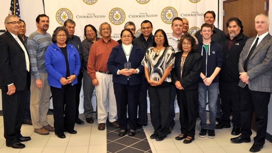 Dec. 19, 2012: Cherokee Nation translators and education department officials celebrate the launch of Cherokee on Windows 8 in Tahlequah, Okla.