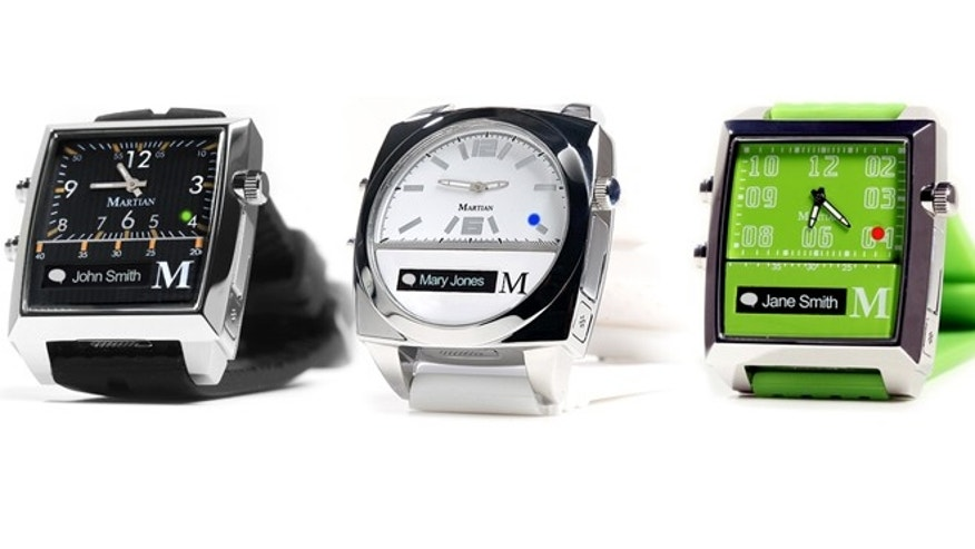 The new $249 to $299 Martian Watches look like regular watches but have built-in microphones and wireless Bluetooth connections to a smartphone. They use voice commands so that you can make phone calls, send and receive text messages, and even search the Web.