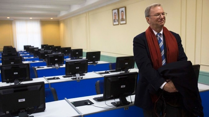 Jan. 8, 2013: Executive Chairman of Google, Eric Schmidt tours a computer lab at Kim Il Sung University in Pyongyang, North Korea.
