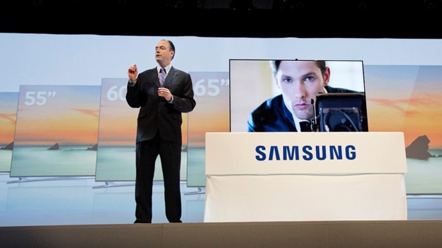 Jan. 7, 2013: Samsung president Tim Baxter introduces the new LED F8000 large screen television.
