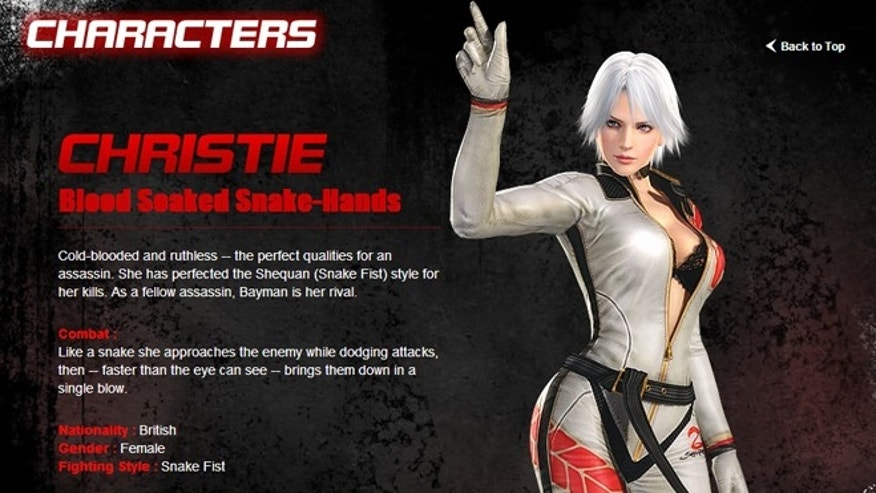 "Christie, one of a series of top-heavy female characters from the new videogame ""Dead or Alive 5."""