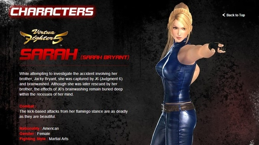 "Sarah, one of a series of top-heavy female characters from the new videogame ""Dead or Alive 5."""