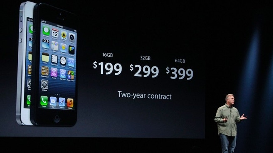 Sept. 12, 2012: Phil Schiller, Apple's senior vice president of worldwide marketing, gives prices of the iPhone 5 during an Apple event in San Francisco.