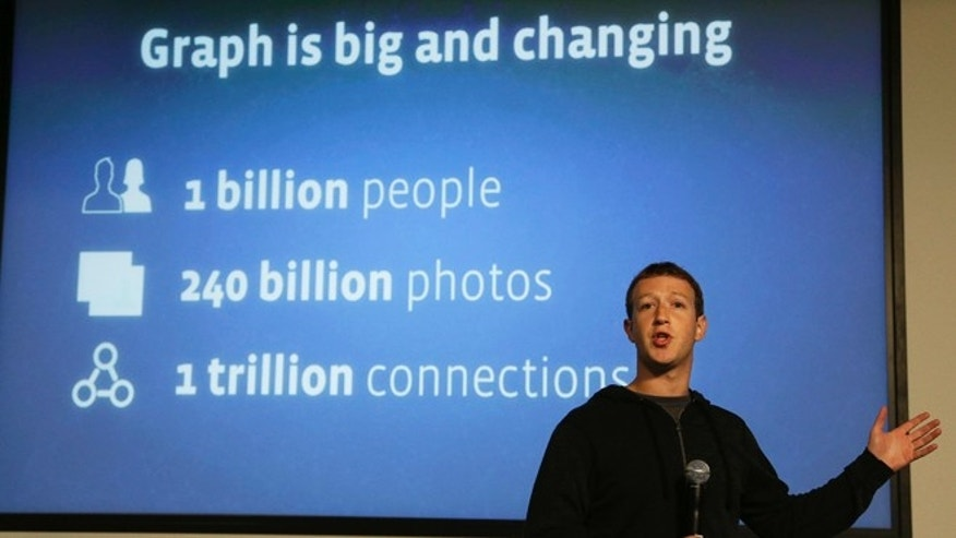 "Jan. 15, 2013: Facebook CEO Mark Zuckerberg speaks about Facebook Graph Search at a Facebook headquarters in Menlo Park, Calif. Called ""graph search,"" the new feature lets users search their social connections for information about their friends' interests, and for photos and places."