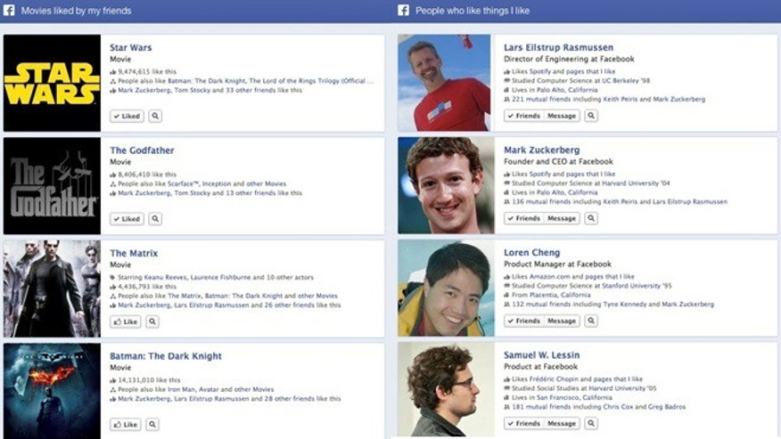 Jan. 15, 2013: A new search function announced Tuesday by Facebook allows users to sift through the social network for information about friends and contacts.
