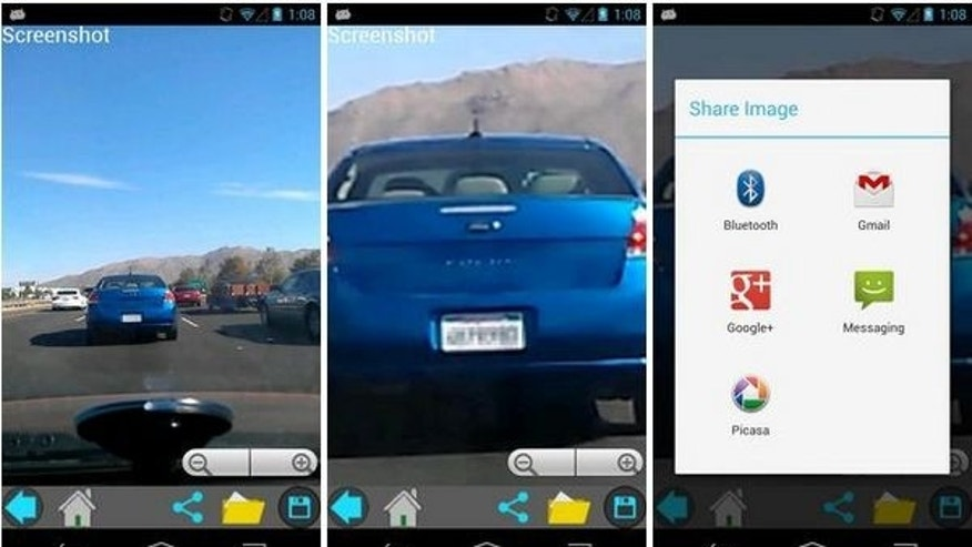 App lets you zoom in on license plate of suspicious car and email to authorities.