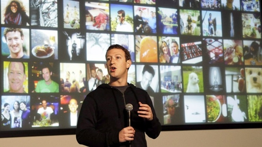 "Jan. 15, 2013: Facebook CEO Mark Zuckerberg speaks at Facebook headquarters in Menlo Park, Calif., to introduce ""graph search."""