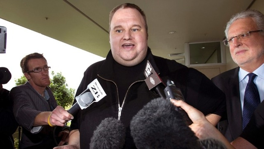 Feb. 22, 2012: Kim Dotcom, the founder of the file-sharing website Megaupload, comments after he was granted bail and released in Auckland, New Zealand.