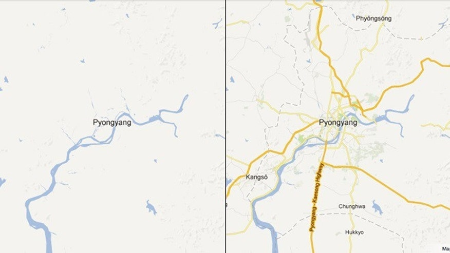 Jan. 29, 2013: Before (left) and after (right) Google added new data on reclusive North Korea to its mapping product.
