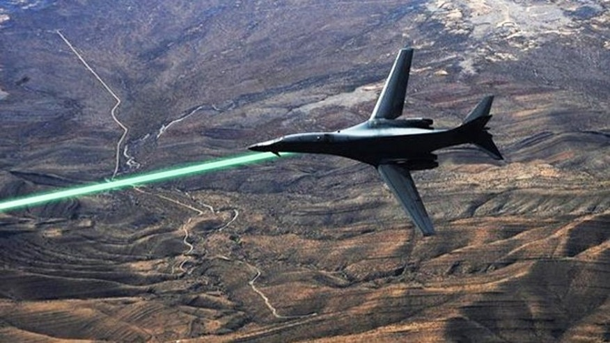 A mockup photo of how a B-1 bomber might deploy a laser weapon.