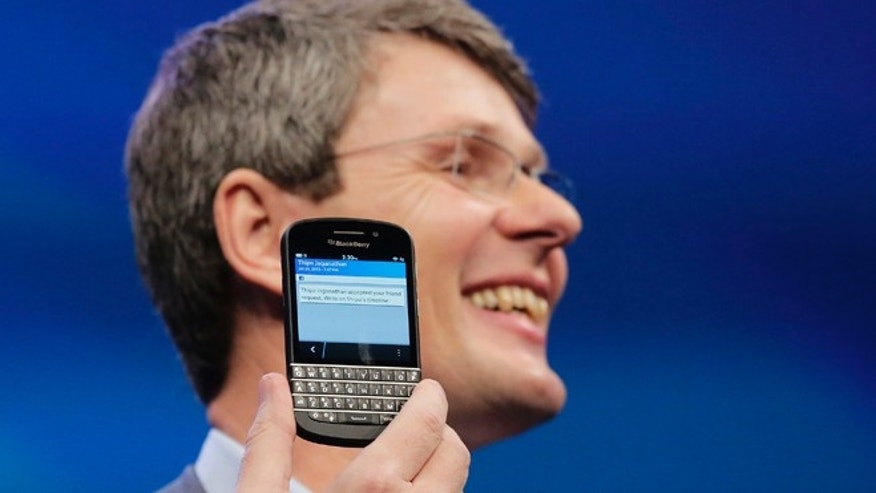 Jan. 30, 2013: Thorsten Heins, CEO of BlackBerry, introduces the BlackBerry 10 in New York, the fruit of a crucial, long-overdue makeover for the Canadian company.