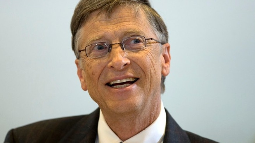 Jan. 29, 2013: Bill Gates, founder of the software company Microsoft, speaks during a press conference after a meeting with German Development Aid Minster Dirk Niebel, unseen, in Berlin, Germany.