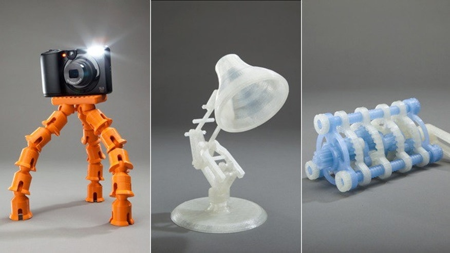 A variety of objects created by the Makerbot Replicator 2 3D printer.