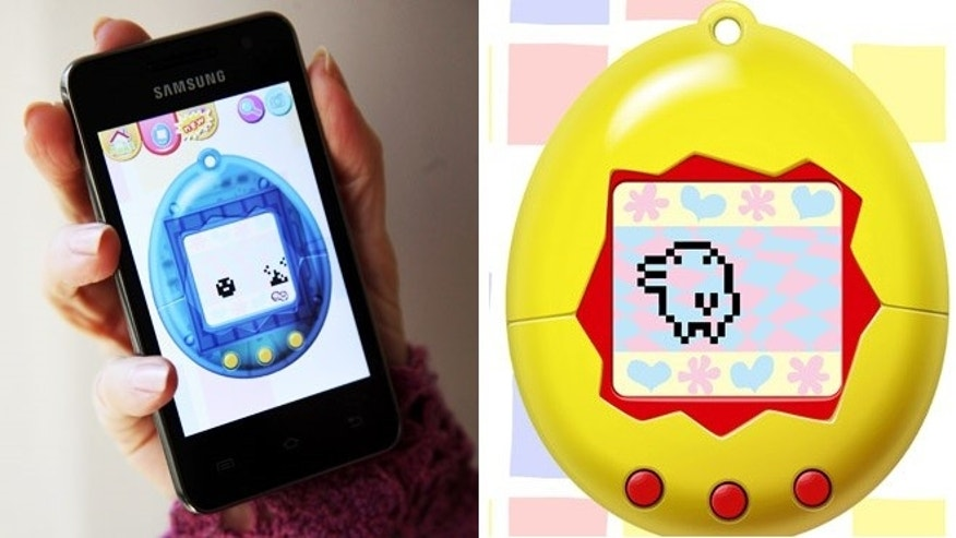 "Feb. 13, 2013: The mobile app ""Tamagotchi L.I.F.E."" is shown displayed on a smartphone in Los Angeles."