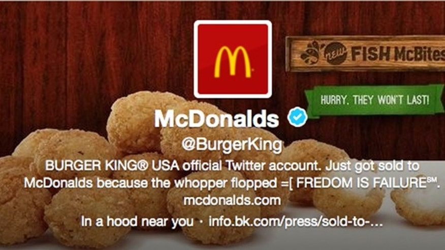 Feb. 18, 2013: A screenshot shows what appears to be Burger King's Twitter account after it was apparently hacked.