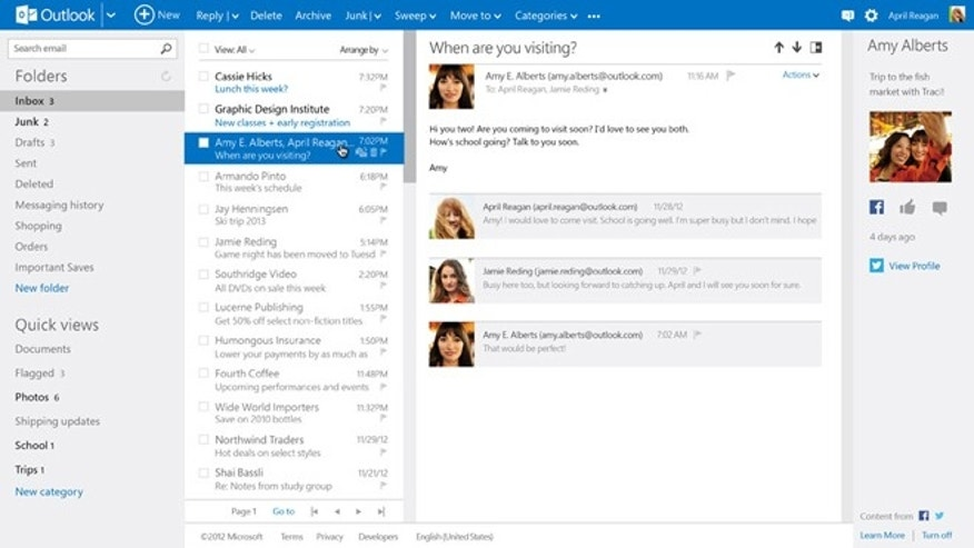 Outlook.com gives you the option to connect your social networks to your inbox, streamlining your contacts and creating a centralized hub for all of your most important information.