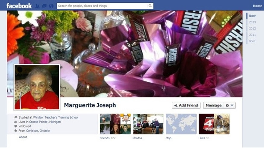 A screenshot of the Facebook page for Marguerite Joseph, a 104-yera-old Michigan woman who says the site won't allow her to enter her real birthdate -- the site only allows dates going back to 1928.