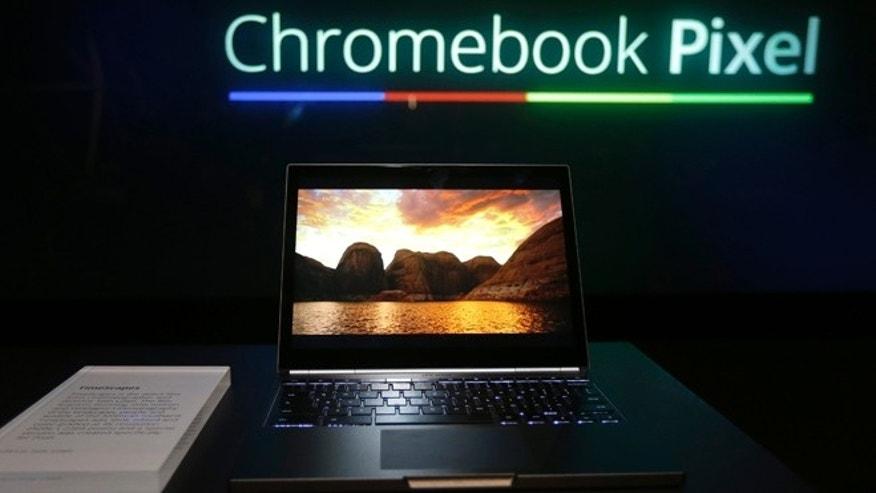 Feb. 21, 2013: The Google Chromebook Pixel laptop computer is shown at an announcement in San Francisco.