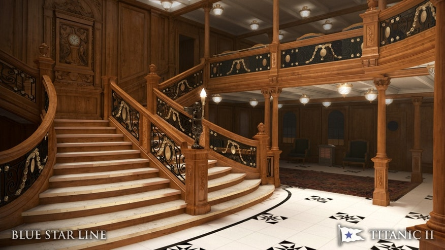In this rendering provided by Blue Star Line, the grand staircase on the Titanic II is shown. The replica ship, which Australian billionaire Clive Palmer is planning to build in China, is scheduled to sail in 2016.
