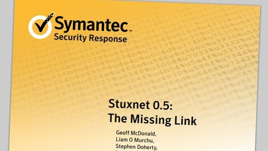 Feb. 26, 2013: The cover of a Symantec report detailing the earliest known incidence of the Stuxnet worm, a cyberweapon built for Internet war.