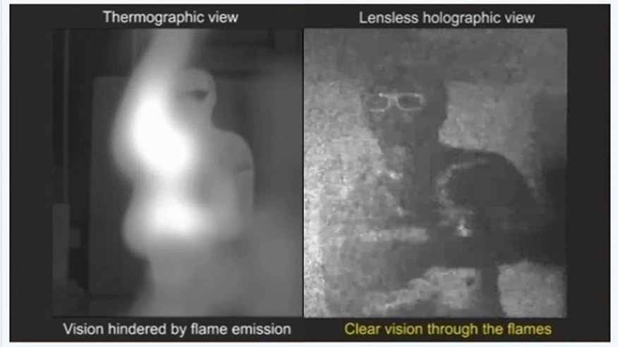 A comparison of a traditional imaging system, in which the view of a man is obstructed by flames (left), and a new technique using digital infrared holography, in which the viewer can see the man standing and waving his hand (right).