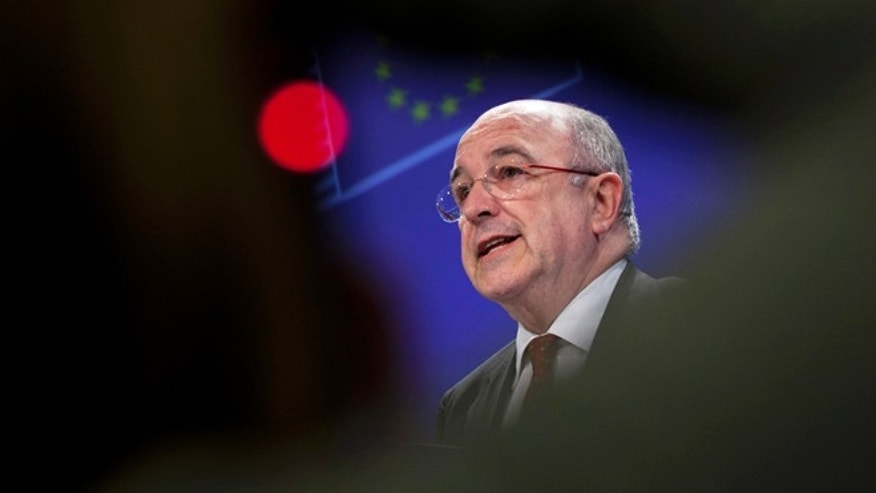 March 6, 2013: European Commissioner for Competition Joaquin Almunia speaks during a media conference at EU headquarters in Brussels. The Commission has fined Microsoft $733 million for breaking the terms of an earlier agreement to offer users a choice of internet browser.