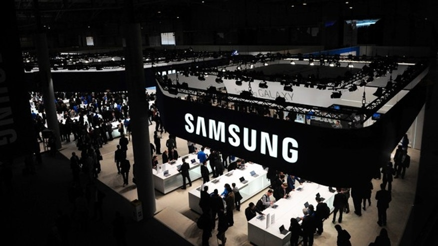 Feb. 26, 2013: A view of the visitors in the stand of Samsung at the Mobile World Congress, the world's largest mobile phone trade show, in Barcelona, Spain.