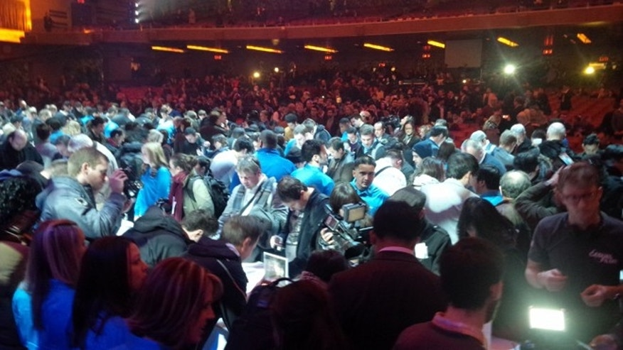 Mar. 14, 2013: A massive crowd attended the debut of the Samsung Galaxy S IV at Radio City Music Hall, the company showed off the phone's features with a four-part musical number and a full band.