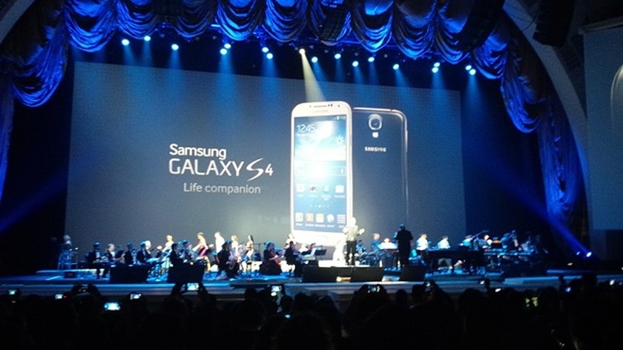 Mar. 14, 2013: The slim and sleek new Samsung Galaxy S IV is seen at its debut in Radio City Music Hall, where the company showed off the phone's features with a four-part musical number and a full band.
