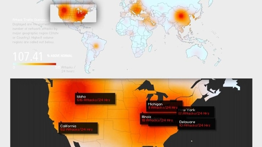 March 26, 2013: The volume of internet attacks is up 107.4 percent, according to a real-time traffic monitor on Akamai.com.