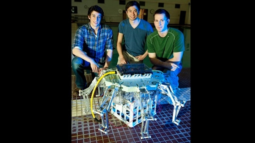 Left to right, robotic jellyfish research team members Alex Villanueva of St-Jacques, New-Brunswick, Canada, and a doctoral student&#x3b; and Kenneth Marut of Washington, D.C, and Tyler Michael of Lexington, N.C., both masters students, all in the mechanical engineering program.