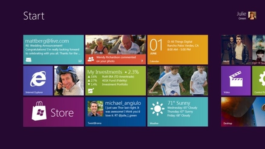 Screenshot of the Windows 8 Start screen, as shown at the D9 Conference in 2011.