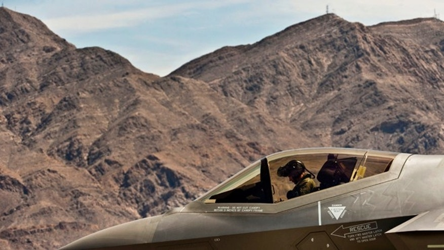April 24, 2013: A U.S. Air Force F-35A Lightning II, flown by U.S. Marine Lt. Col. Rodger Hardy at Nellis Air Force Base, Nev. The F-35A Lightning II is a single-seat, single engine, fifth generation, multirole fighter thats able to perform ground attack, reconnaissance, and air defense missions with stealth capability.