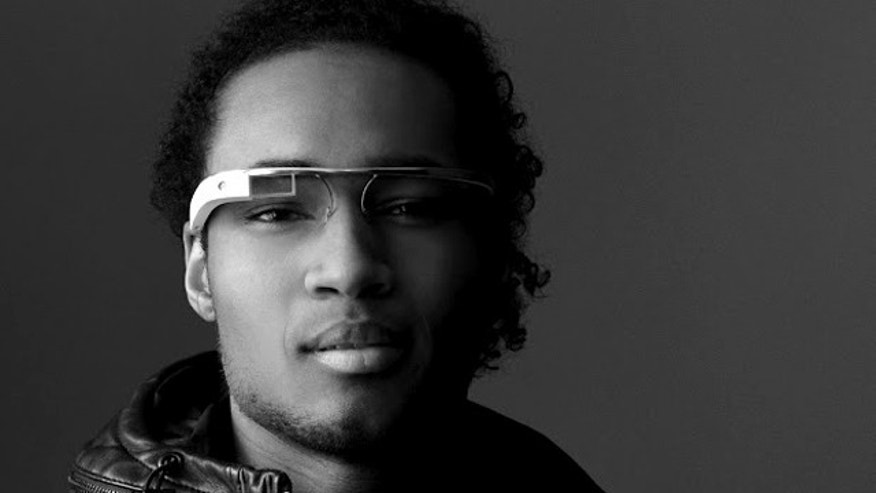 "Apr. 4, 2012: A model sports Google's augmented reality, ""smartphone glasses."""