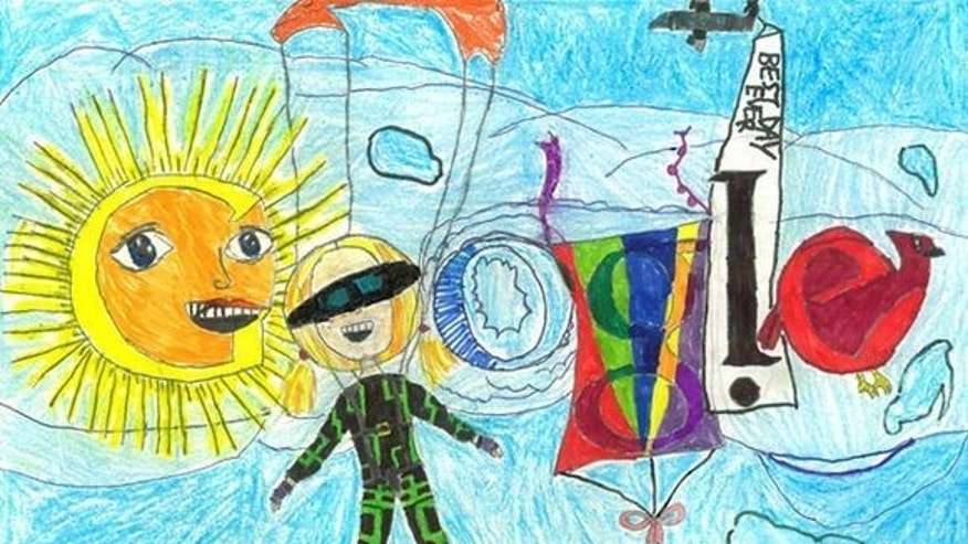 "Google 4 Doodle semifinalist Hope S. imagines her ""best day ever"" would include skydiving."