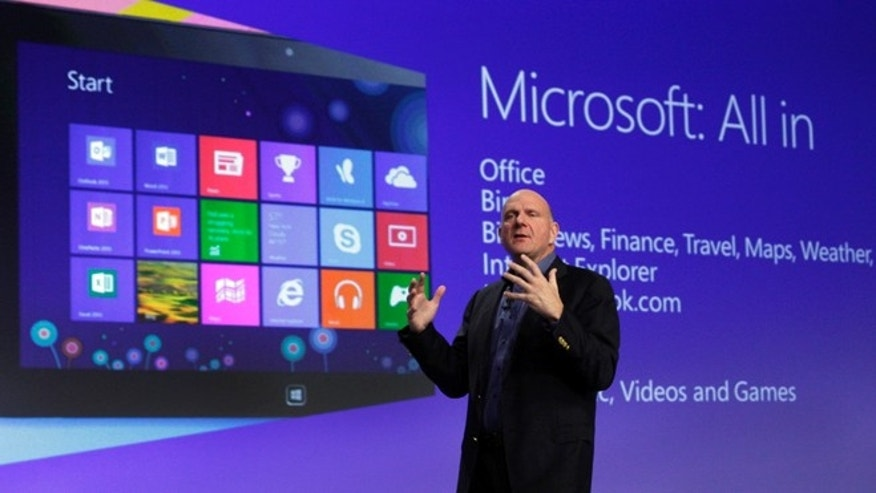 Oct. 25, 2012: Microsoft CEO Steve Ballmer gives his presentation at the launch of Microsoft Windows 8 in New York.