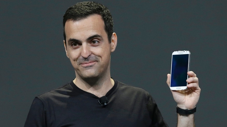 May 15, 2013: Hugo Barra, vice president, Android Product Management at Google, holds a Samsung Galaxy S4 Google Edition while speaking at Google I/O 2013 in San Francisco.