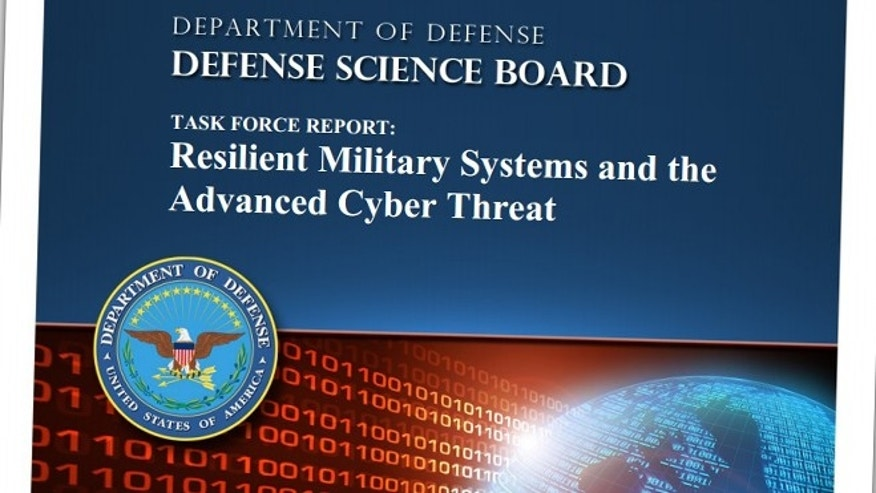 The cover of a Defense Science Board report, Resilient Military Systems and the Advanced Cyber Threat, that details various U.S. defense weapon systems that have been compromised by Chinese hackers.