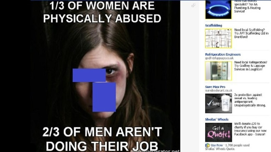 One of many examples collected by Women, Action and the Media of graphic rape jokes currently allowed on Facebook.