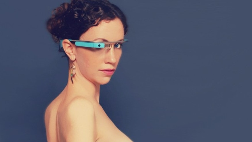 A promotional shot for MiKandi's new Google Glass app, which displays pornograph on the futuristic device -- and was promptly banned.