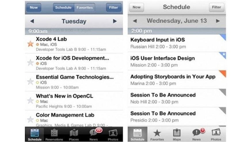The new look of iOS 7 in the official WWDC 2013 app alongside last year's WWDC app.